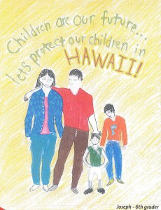 drawing of Hawaii family